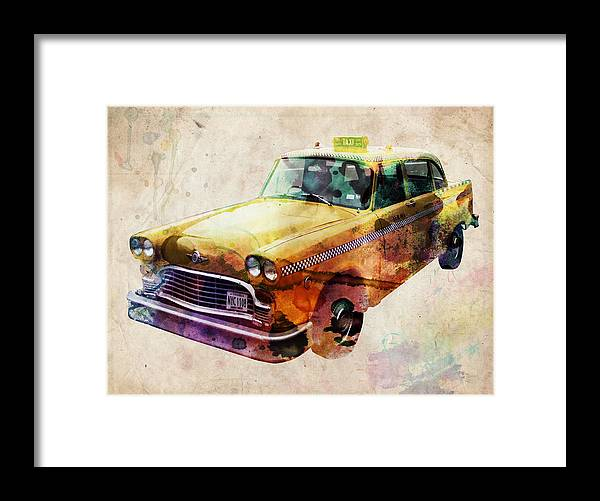 Nyc Framed Print featuring the digital art Nyc Yellow Cab by Michael Tompsett