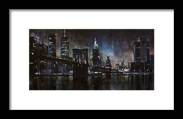 Cityscape Framed Print featuring the painting N.y.city by Michael Lang