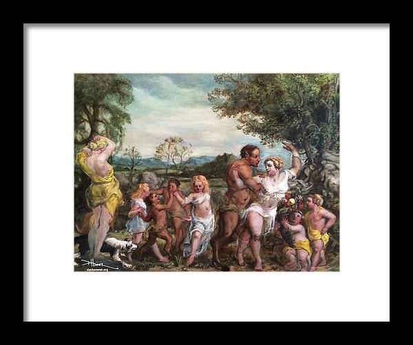 Framed Print featuring the painting Nymphs And Satres by Dan Hammer