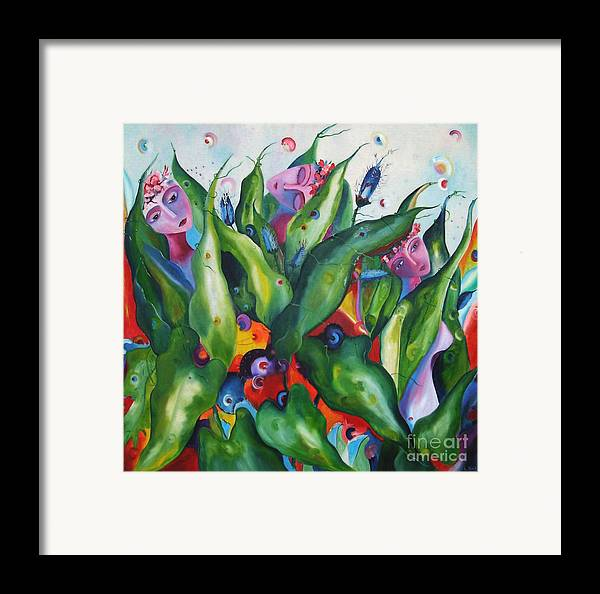 Surreal Framed Print featuring the painting Nymphs by Nela Vicente