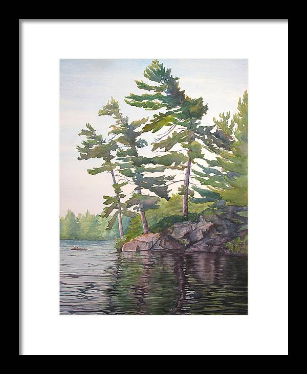 Rocks Framed Print featuring the painting O Canada No.2 by Debbie Homewood