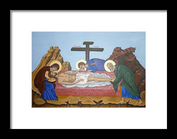 Marinella Owens Framed Print featuring the painting O Epitafos Jesus by Marinella Owens