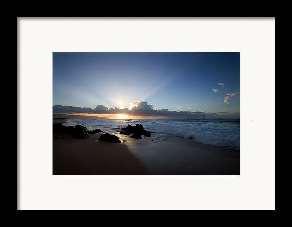 Ocean Framed Print featuring the photograph Oahu Sunset by Brad Rickerby