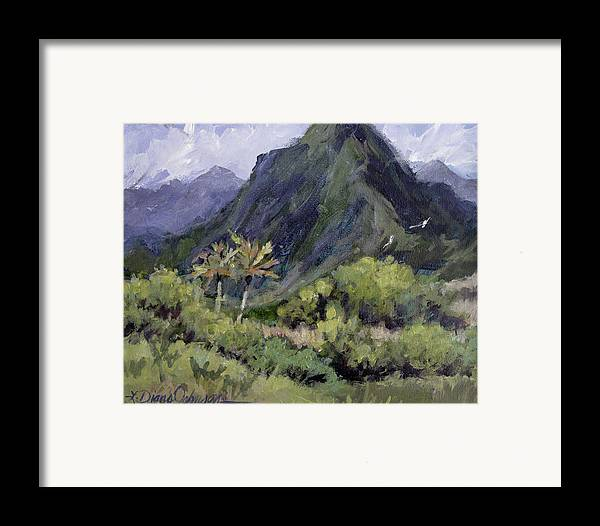 Hawaii Mountain Framed Print featuring the painting Oahu Valley by L Diane Johnson