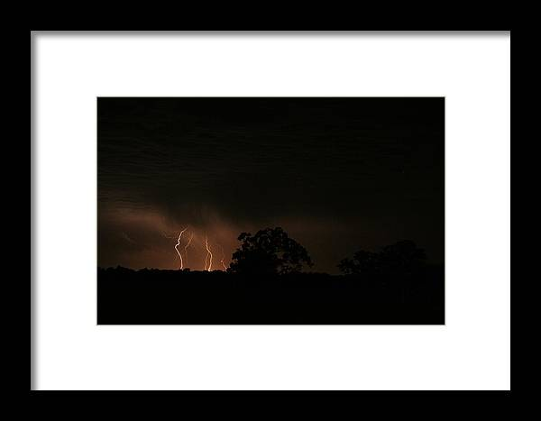 Lightning Framed Print featuring the photograph Oak And Strikes by Garrett Griffin