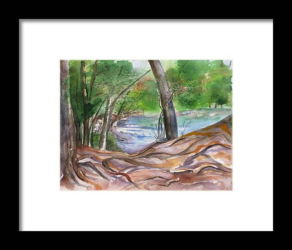 Landscape With Trees Framed Print featuring the painting Oak Creek In Sedona by Kathy Mitchell