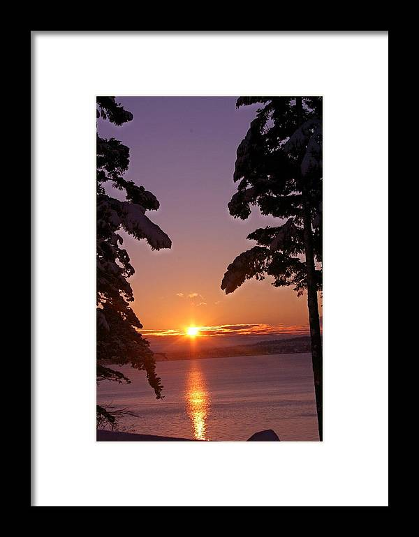 Sunrise Framed Print featuring the photograph Oak Harbor Sunrise II Sr 2002 by Mary Gaines
