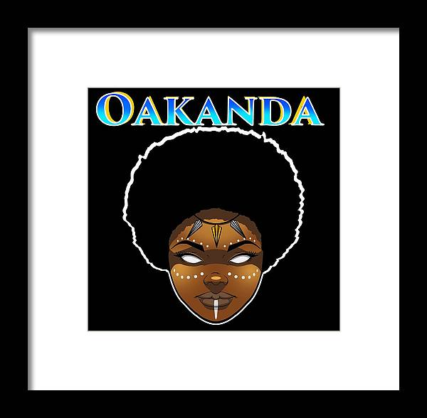 #blm #wakanda #blackgirlmagic #blackpanther Framed Print featuring the digital art Oakanda by Wolfgang Robinson