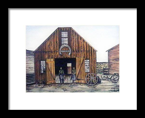 Historic Framed Print featuring the painting Oar And Burke Blacksmithing And Wagonworks by Tammera Malicki-Wong