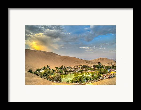 Huacachina Framed Print featuring the photograph Oasis by Dado Molina