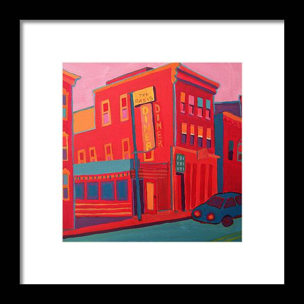 Diner Framed Print featuring the painting Oasis Diner Burlington VT by Debra Bretton Robinson