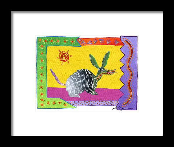 Oaxaca Framed Print featuring the painting Oaxacan Armadillo by Phil Dynan