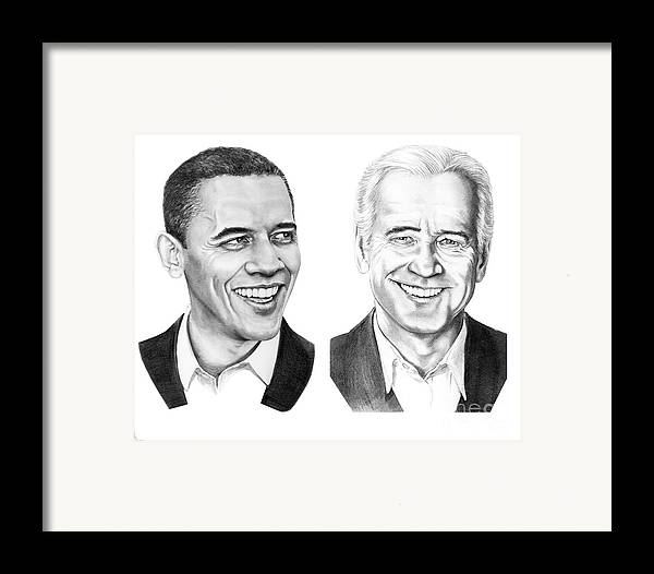 President Framed Print featuring the drawing Obama Biden by Murphy Elliott