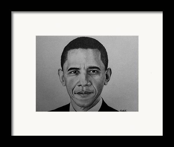 Obama Framed Print featuring the drawing Obama by Carlos Velasquez Art