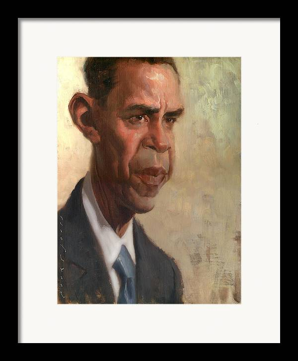 Barack Obama Framed Print featuring the painting Obama by Court Jones