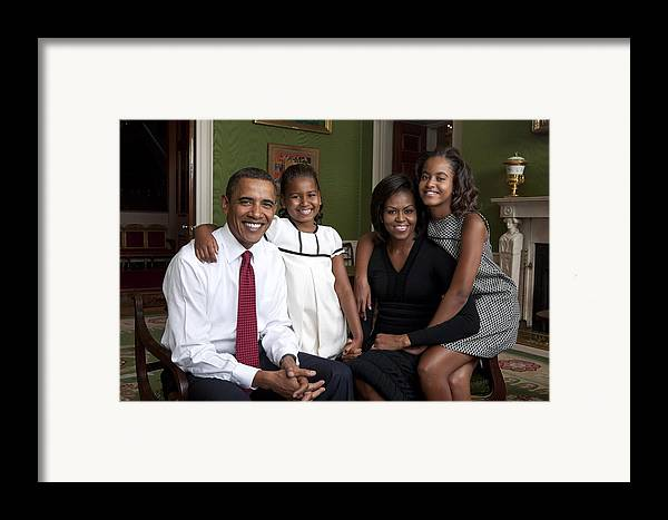 History Framed Print featuring the photograph Obama Family Official Portrait By Annie by Everett