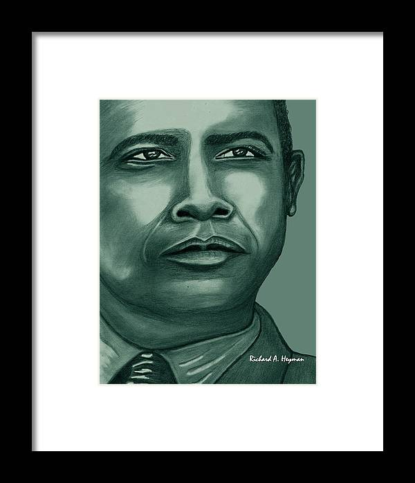 Political Framed Print featuring the drawing Obama In Bronze by Richard Heyman