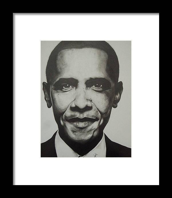 Barack Obama Framed Print featuring the drawing Obama by Jane Nwagbo