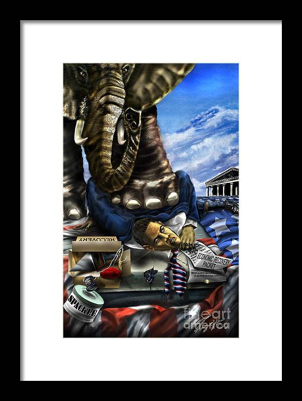 Political Satire Painting Framed Print featuring the painting Obama by Reggie Duffie