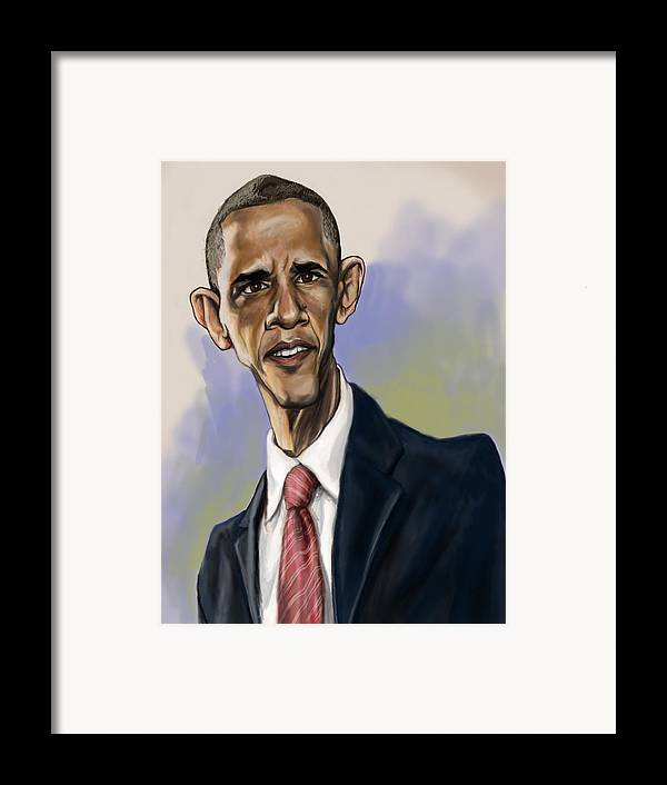 Barack Obama Framed Print featuring the painting Obama by Tyler Auman