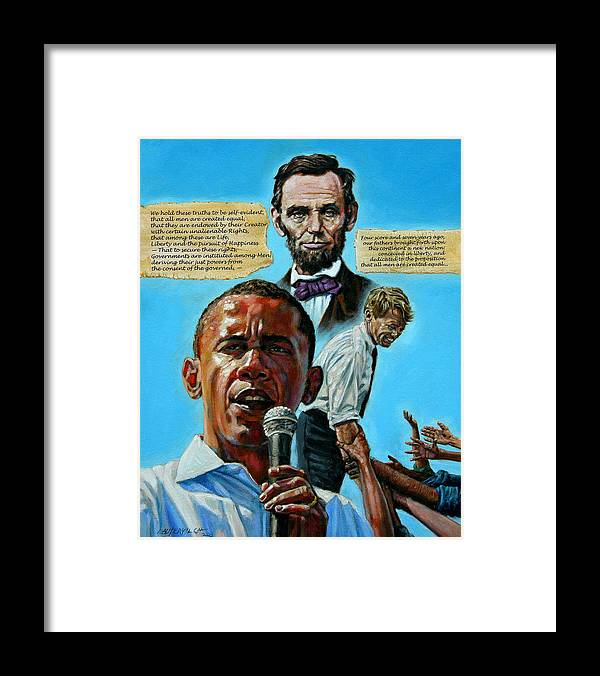 Obama Framed Print featuring the painting Obamas Heritage by John Lautermilch