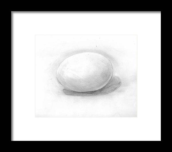 Egg Framed Print featuring the drawing observation EGG ON WHITE by Katie Alfonsi