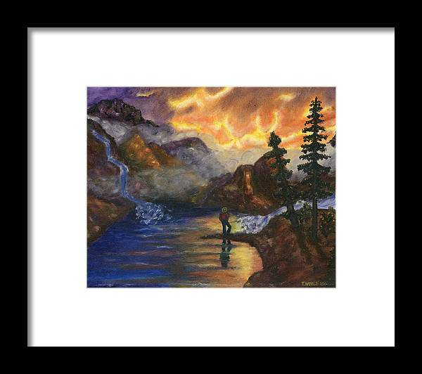 Mountains Framed Print featuring the painting Observation of Beauty by Tanna Lee M Wells
