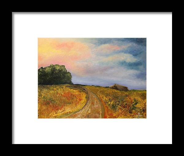 Landscape Framed Print featuring the painting Obviously Covered by Darko Topalski