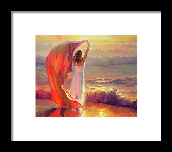Ocean Framed Print featuring the painting Ocean Breeze by Steve Henderson