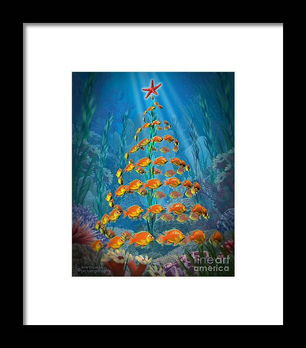 Ocean Framed Print featuring the painting Ocean Christmas by Shiny Thoughts