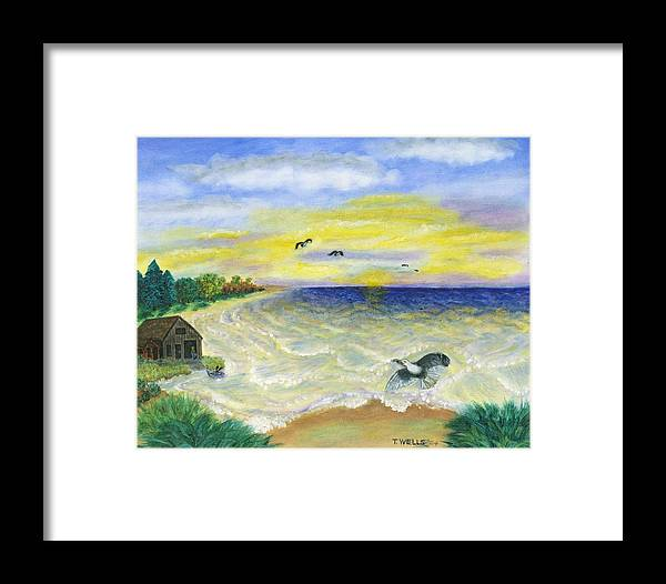 Ocean Framed Print featuring the painting Ocean Delight by Tanna Lee M Wells