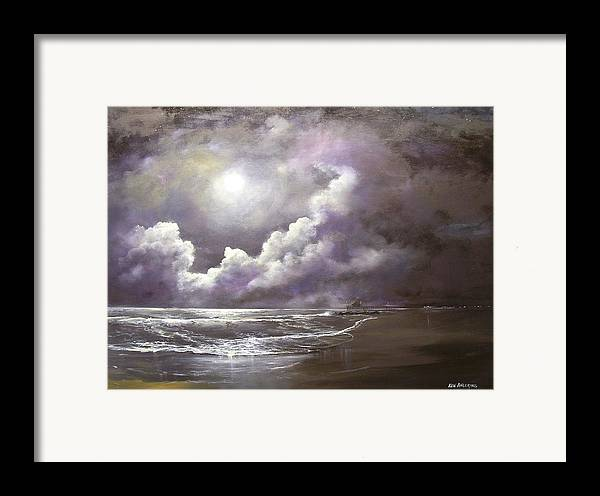 Ocean Framed Print featuring the painting Ocean Grove Moon by Ken Ahlering