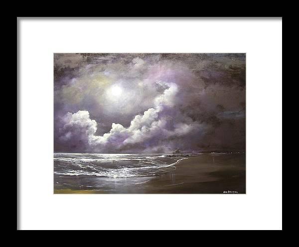 Ocean Framed Print featuring the painting Ocean Grove Moon by Ken Ahlering