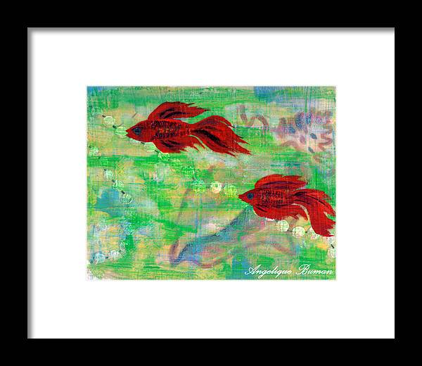 Animals Framed Print featuring the painting Ocean Layers by Angelique Bowman