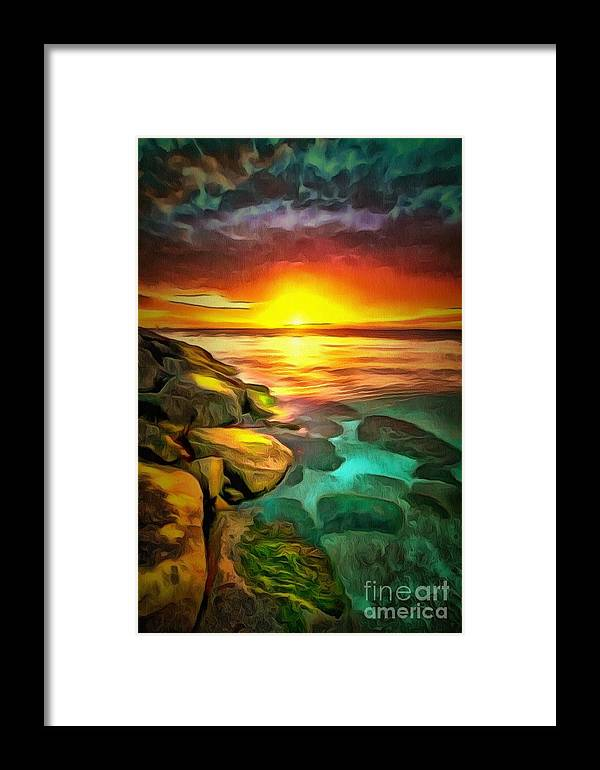 Ocean Lit In Ambiance Framed Print featuring the painting Ocean Lit In Ambiance by Catherine Lott
