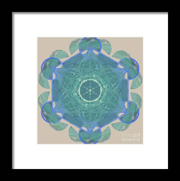 Ocean Framed Print featuring the mixed media Ocean Metatron by Vanda Sucheston Hughes