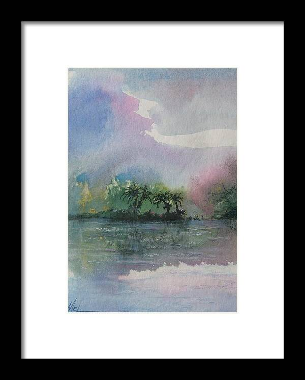 Tropical Island Framed Print featuring the painting Ocean Pearls by Melody Horton Karandjeff
