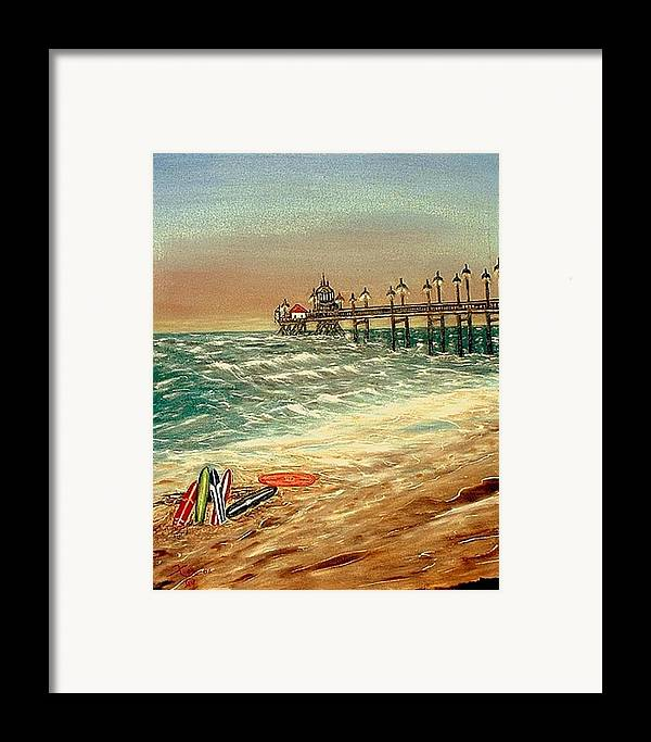 Ocean Sirfboards  Pier Framed Print featuring the painting Ocean Pier by Kenneth LePoidevin