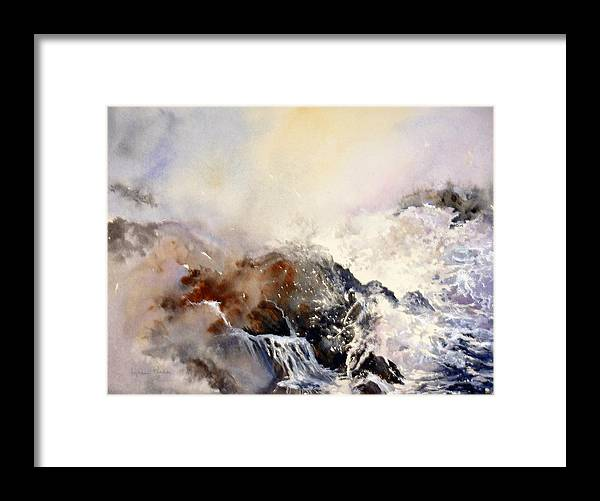Seascape Framed Print featuring the painting Ocean Rage by Lynne Parker
