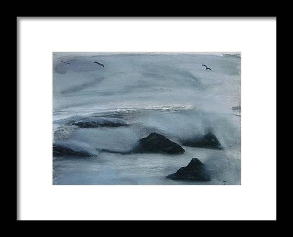 Ocean Framed Print featuring the painting Ocean Rocks by Dottie Briggs