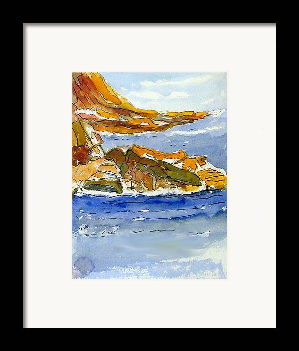 Watercolor Framed Print featuring the painting Ocean Scene by Jivantoro Mentis