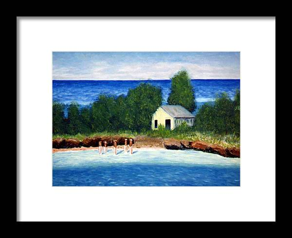 Seascape Framed Print featuring the painting Ocean Shack by Stan Hamilton
