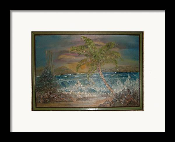 Seascape Framed Print featuring the painting Ocean Storm by Mikki Alhart