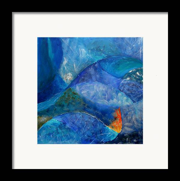 Abstract Framed Print featuring the painting Ocean's Lullaby by Aliza Souleyeva-Alexander
