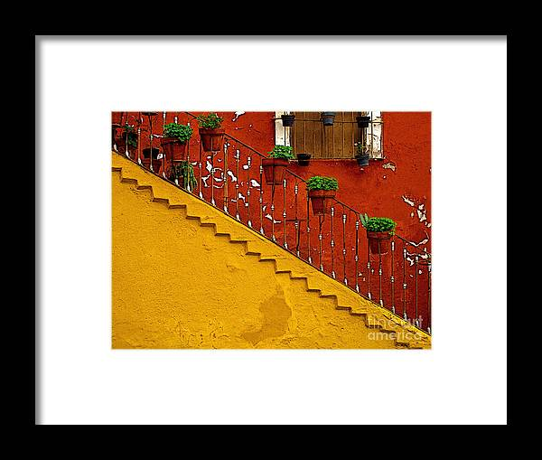 Darian Day Framed Print featuring the photograph Ochre Staircase With Red Wall 2 by Mexicolors Art Photography