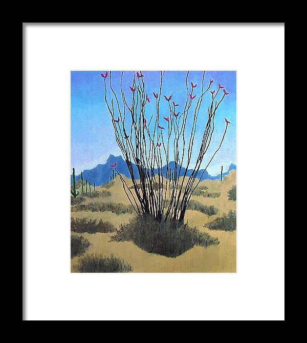 Realism Framed Print featuring the painting Ocotillo by Bernard Goodman