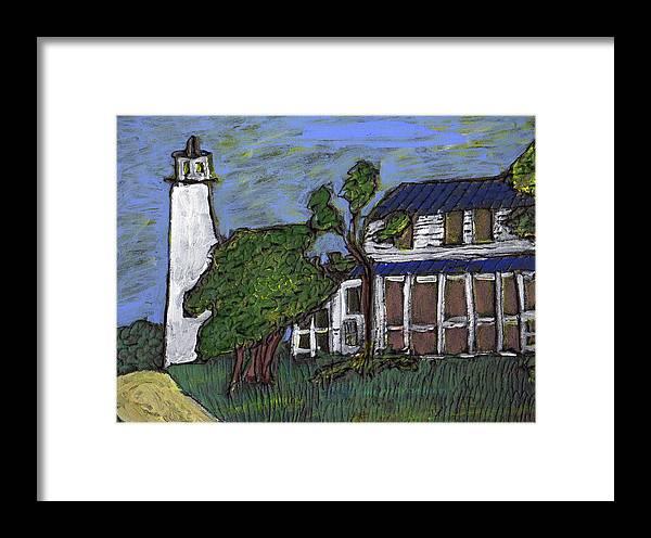 Light House Framed Print featuring the painting Ocracoke Island Light House by Wayne Potrafka