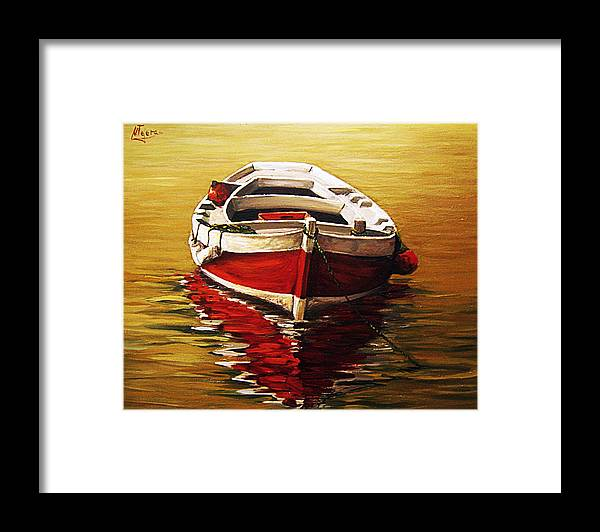 Waterscape Seascape Sea Ocean Waterpond Boat Refleciton Framed Print featuring the painting Ocre S Sea by Natalia Tejera