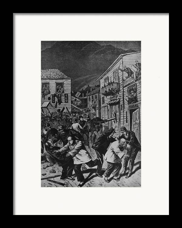 History Framed Print featuring the photograph October 31, 1880 Anti-chinese Riot by Everett