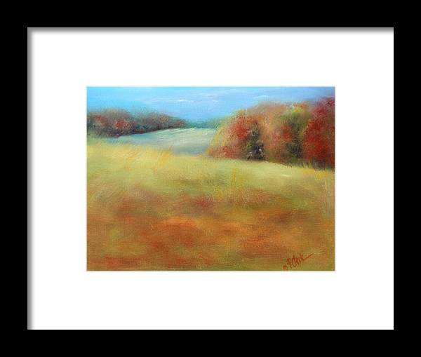 Fall Season Framed Print featuring the painting October Grazing Fields by Donna Pierce-Clark